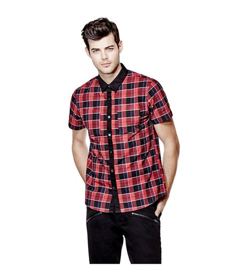 Imbracaminte Barbati GUESS Christos Short-Sleeve Plaid Shirt havana red