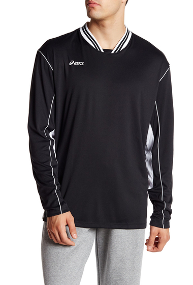 Imbracaminte Barbati ASICS Digg Long Sleeve Two-Tone Pullover BLACK-WHIT