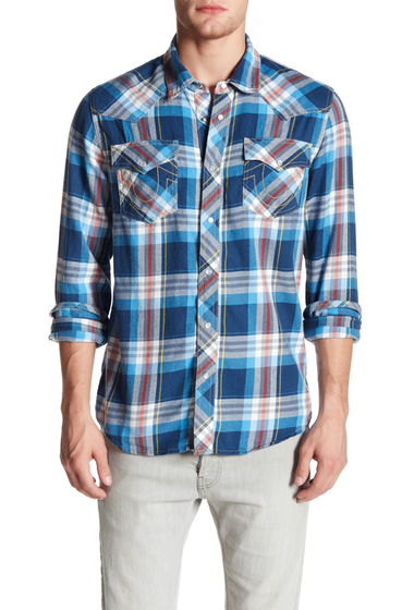 Imbracaminte Barbati True Religion Long Sleeve Slim Fit Plaid Western Shirt ALMA MATER