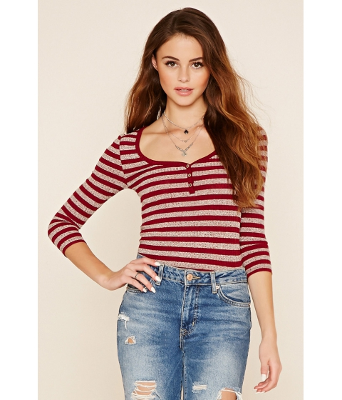 Imbracaminte Femei Forever21 Striped Knit Top Burgundyheather grey