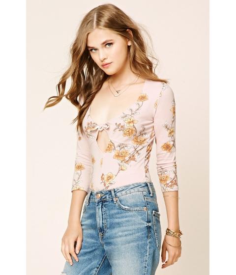 Imbracaminte Femei Forever21 Floral Bow-Front Bodysuit Rosecamel