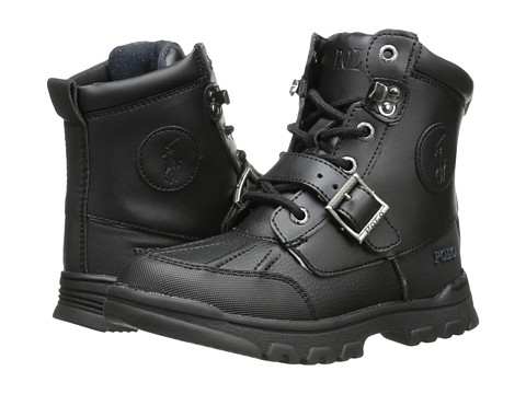 Incaltaminte Baieti Polo Ralph Lauren Colbey Boot FT14 (Little Kid) Black TumbledBurnished Leather