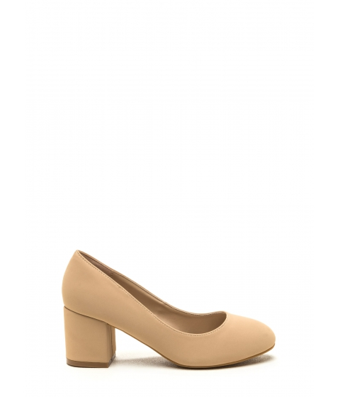 Incaltaminte Femei CheapChic Walk For Miles Chunky Faux Nubuck Pumps Nude
