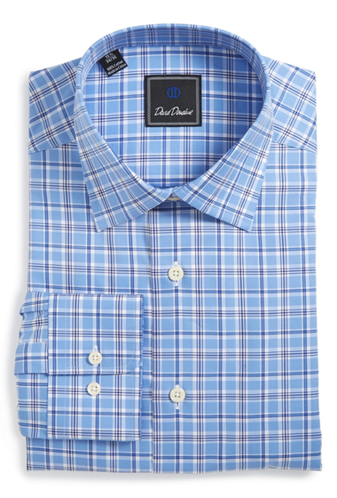 Imbracaminte Barbati David Donahue Long Sleeve Regular Fit Plaid Dress Shirt BLUE