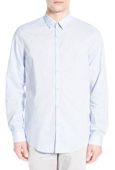 Imbracaminte Barbati CALIBRATE Trim Fit Print Sport Shirt BLUE-XENON-TEXTURE