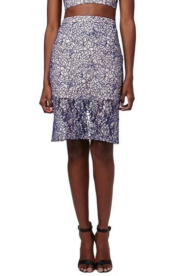 Imbracaminte Femei TOPSHOP Corded Lace Pencil Skirt CREAM-MULTI