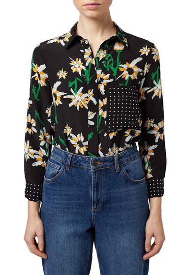 Imbracaminte Femei TOPSHOP Daisy Print Silk Shirt BLACK-MULTI