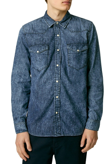 Imbracaminte Barbati TOPMAN Acid Wash Denim Western Shirt MID-BLUE