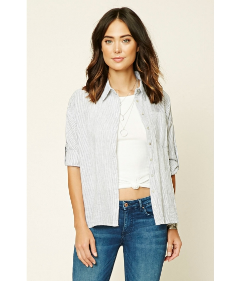 Imbracaminte Femei Forever21 Pinstripe Chambray Top White