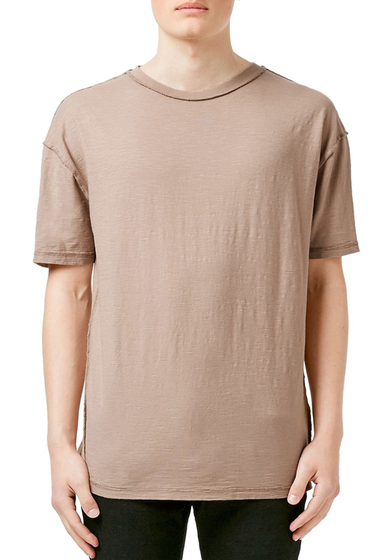 Imbracaminte Barbati TOPMAN Slubbed Oversized Crewneck T-Shirt LIGHT-BROWN