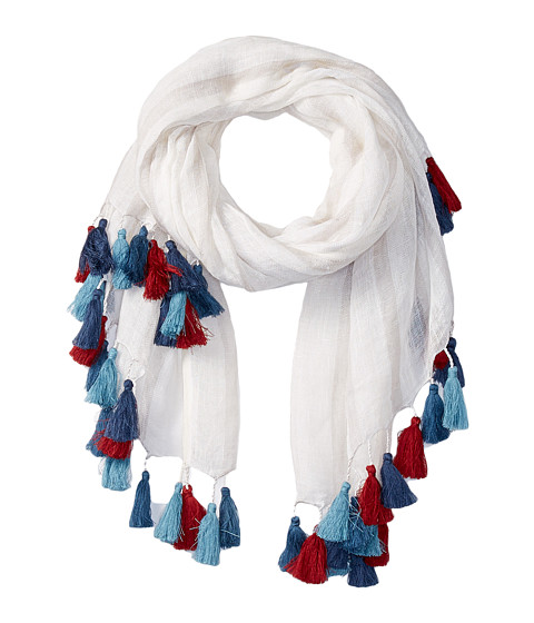 Accesorii Femei San Diego Hat Company BSS1654 Striped Lightweight Scarf with Multicolored Tassels White