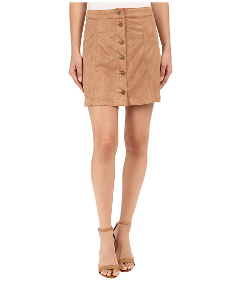 Imbracaminte Femei Brigitte Bailey Addy Micro Suede Button Up Skirt Camel