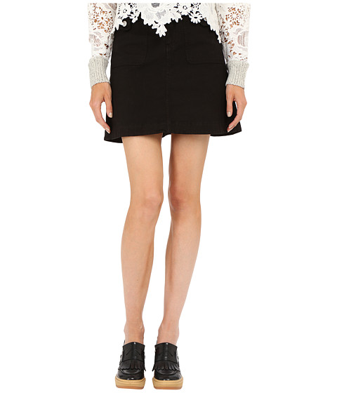 Imbracaminte Femei See by Chloe Cotton and Braids Skirt Black