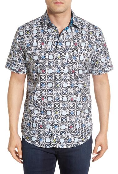 Imbracaminte Barbati Robert Graham Avenue Tawada Regular Fit Short Sleeve Print Sport Shirt WHITE-BLACK