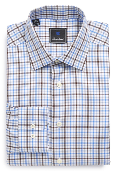 Imbracaminte Barbati David Donahue Long Sleeve Regular Fit Plaid Dress Shirt BLUE-CHOCOLATE