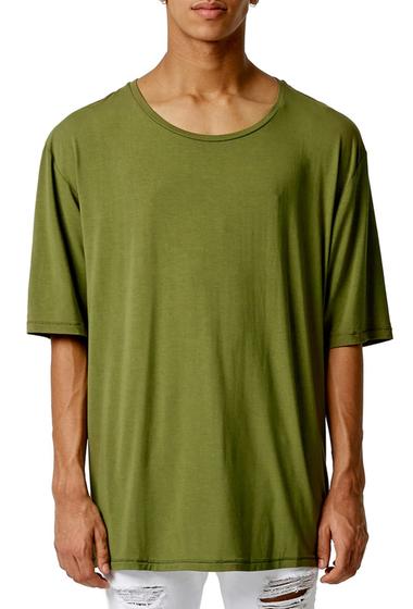 Imbracaminte Barbati TOPMAN AAA Scoop Neck Longline T-Shirt OLIVE