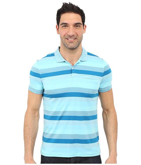 Imbracaminte Barbati Calvin Klein Classic Fit Cotton Wide Stripe Polo Shirt Blue Topaz