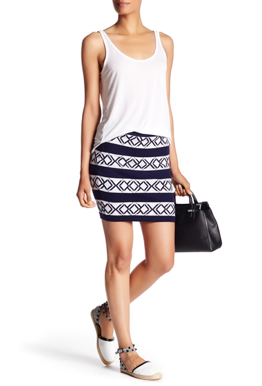 Imbracaminte Femei Rebecca Minkoff Poem Patterned Wool Blend Skirt CREAM-NAVY