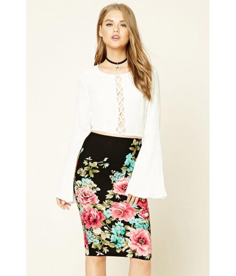 Imbracaminte Femei Forever21 Floral Print Midi Skirt Blackred