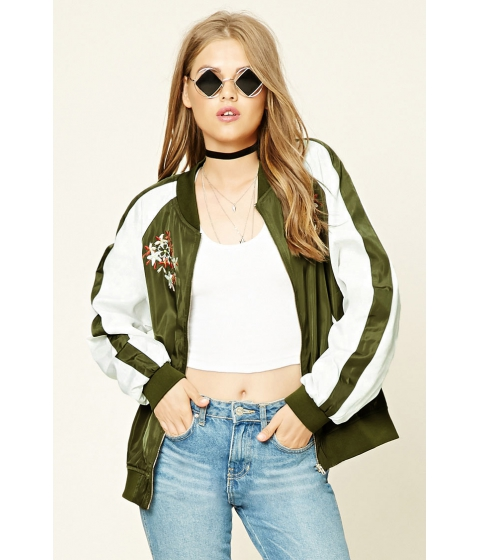 Imbracaminte Femei Forever21 Embroidered Souvenir Jacket Olive