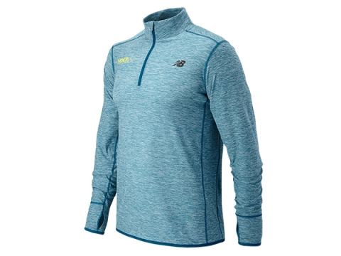 Imbracaminte Barbati New Balance HOCR In Transit Quarter Zip Waterfall with Heather Charc