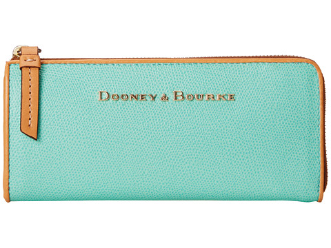Genti Femei Dooney Burke Claremont Zip Clutch Seafoam w Butterscotch Trim