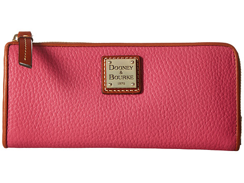 Genti Femei Dooney Burke Pebble Zip Clutch Hot Pink w Tan Trim