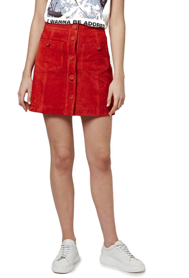 Imbracaminte Femei TOPSHOP Button Front Suede Skirt RED