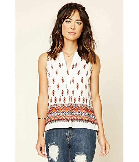 Imbracaminte Femei Forever21 Ornate Print Woven Top Rustcream