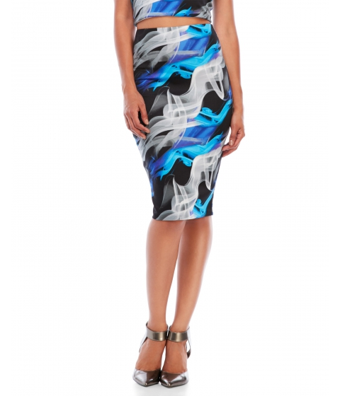 Imbracaminte Femei Necessary Objects Smoke Print Scuba Midi Skirt Blue Multi