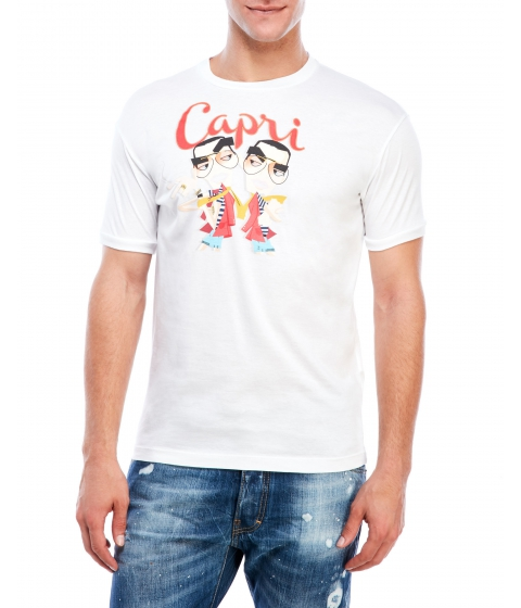 Imbracaminte Barbati DSQUARED2 White Capri Graphic Tee White