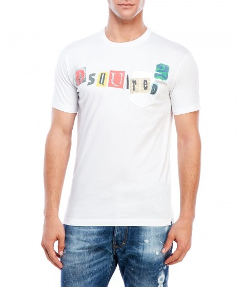 Imbracaminte Barbati DSQUARED2 Logo Chest Pocket Tee White