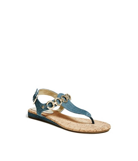 Incaltaminte Femei GUESS Joelynn Denim Sandals medium blue fabric
