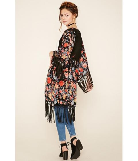 Imbracaminte Femei Forever21 Floral Fringe Kimono Blackred