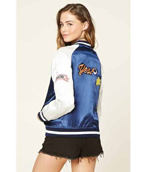 Imbracaminte Femei Forever21 Amazing Patched Bomber Jacket Navy