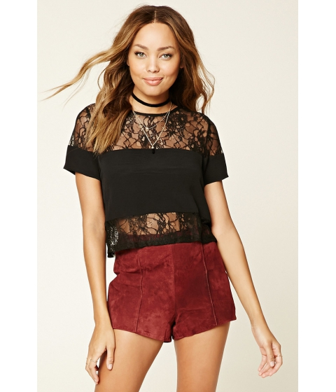 Imbracaminte Femei Forever21 Sheer Floral Lace Top Black