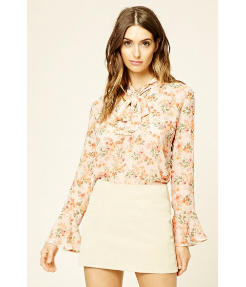 Imbracaminte Femei Forever21 Contemporary Floral Tie Top Creamgreen