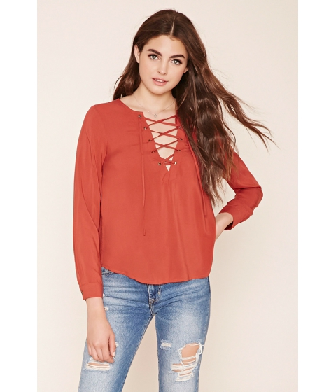 Imbracaminte Femei Forever21 Lace-Up Woven Top Rust