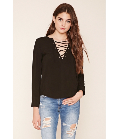 Imbracaminte Femei Forever21 Lace-Up Woven Top Black