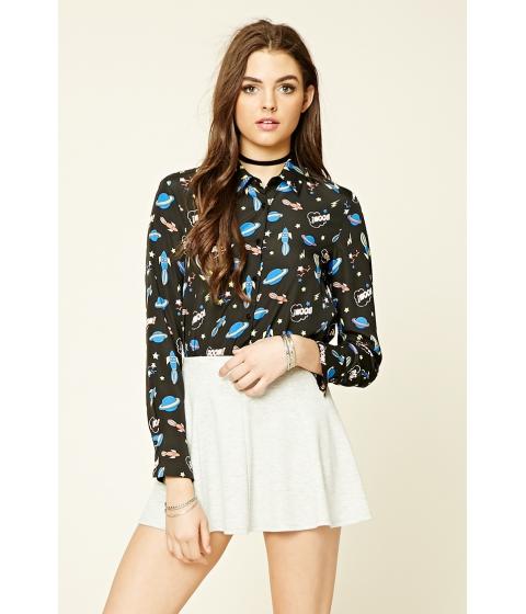 Imbracaminte Femei Forever21 Contemporary Space Print Shirt Blackblue