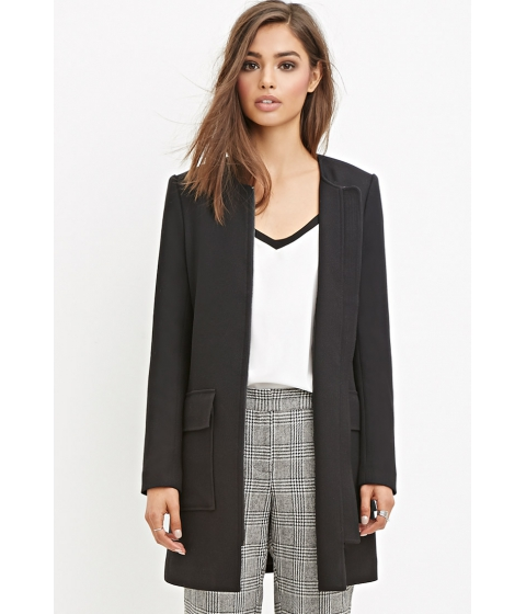 Imbracaminte Femei Forever21 Longline Collarless Jacket Black