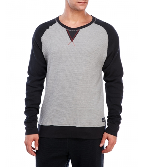 Imbracaminte Barbati Buffalo David Bitton Long Sleeve Color Block Waffle Tee Heather Grey