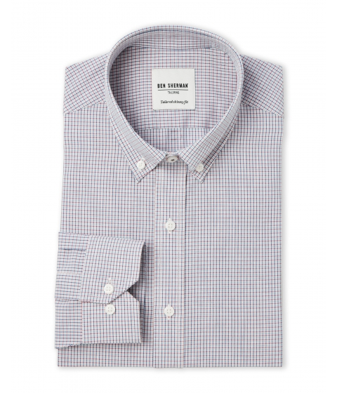 Imbracaminte Barbati Ben Sherman Blue Red White Mini-Check Tailored Slim Fit Dress Shirt Blue