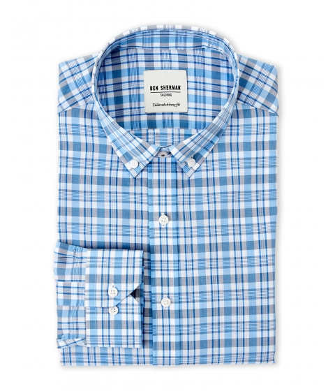 Imbracaminte Barbati Ben Sherman Light Blue White Plaid Tailored Slim Fit Dress Shirt Blue