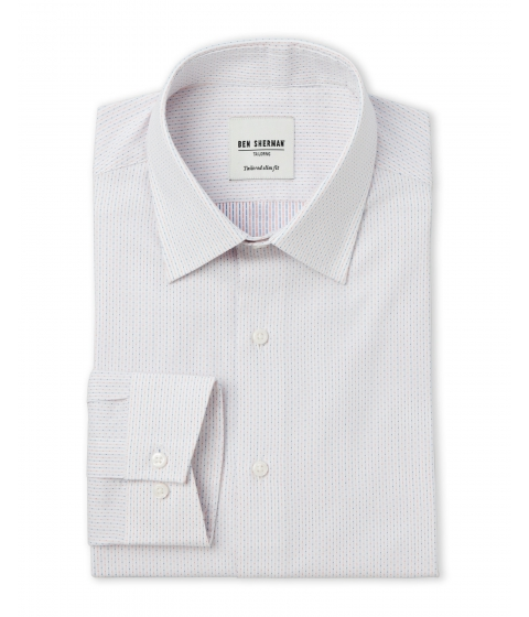Imbracaminte Barbati Ben Sherman White Red Blue Dot Stripe Tailored Slim Fit Dress Shirt White