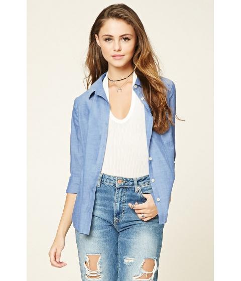 Imbracaminte Femei Forever21 Cotton Woven Shirt Blue
