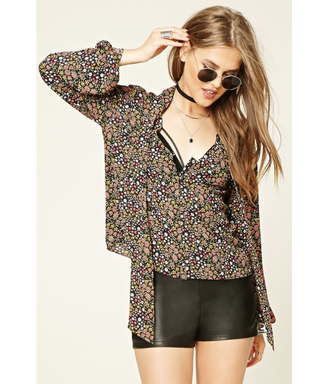 Imbracaminte Femei Forever21 Contemporary Floral Print Top Blackrust