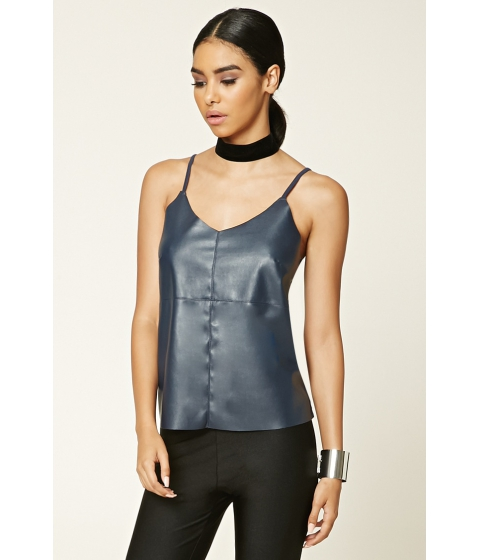 Imbracaminte Femei Forever21 Faux Leather-Front Cami Navy