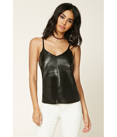 Imbracaminte Femei Forever21 Faux Leather-Front Cami Black