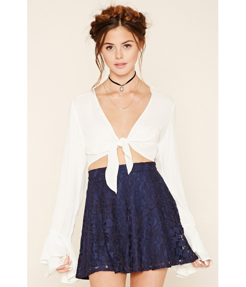 Imbracaminte Femei Forever21 Floral Lace Skater Skirt Navy